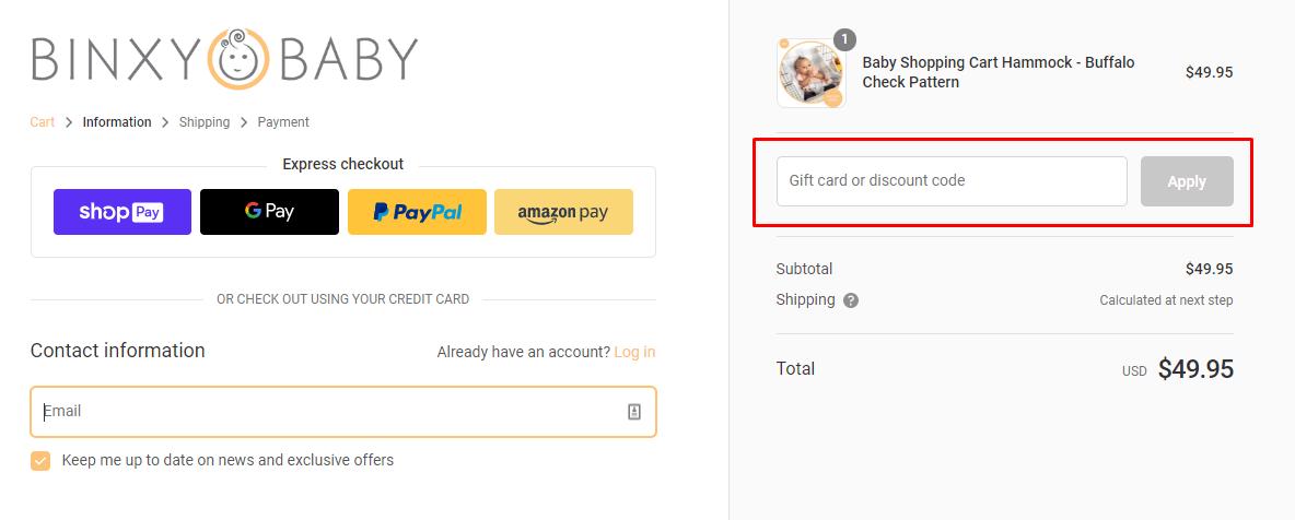 How do I use my Binxy Baby coupon code?