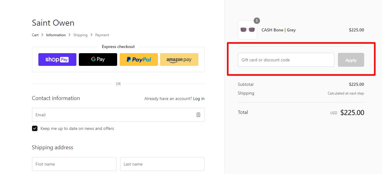 How do I use my SAINT OWEN discount code?