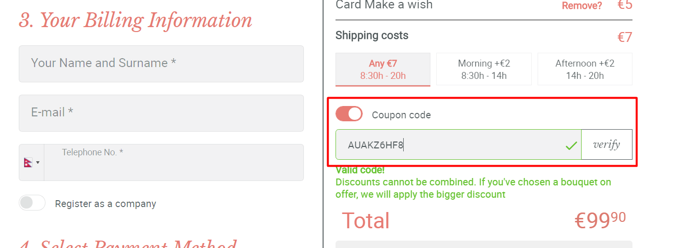 How do I use my FloraQueen coupon code