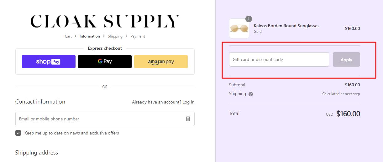 How do I use my Cloak Supply discount code?