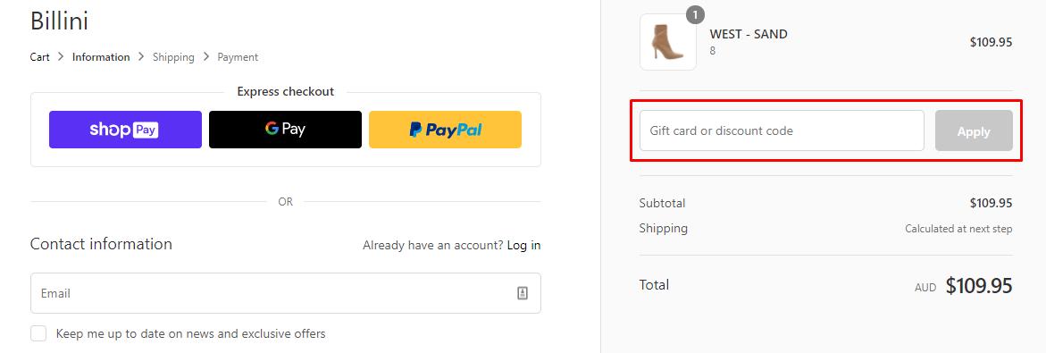 How do I use my Billini discount code?
