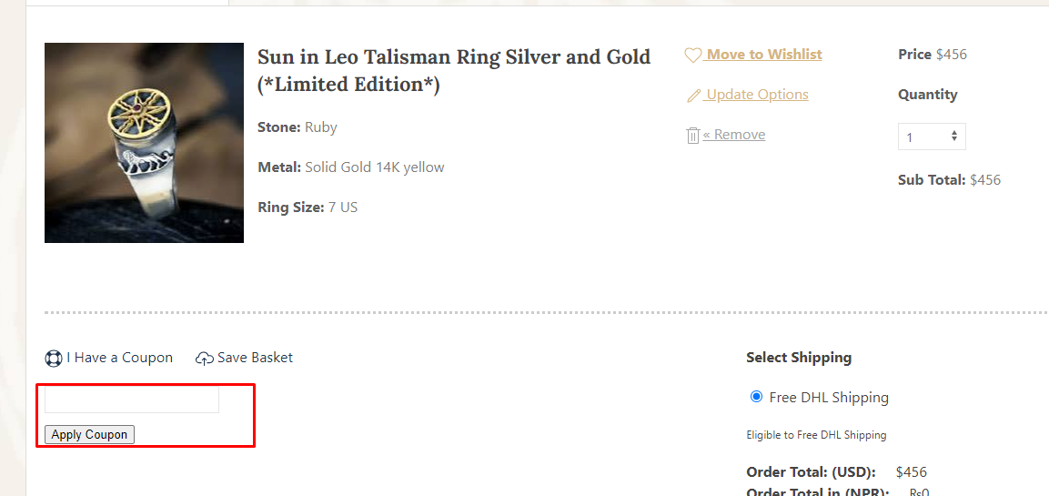 How do I use my Ka Gold Jewelry coupon code?