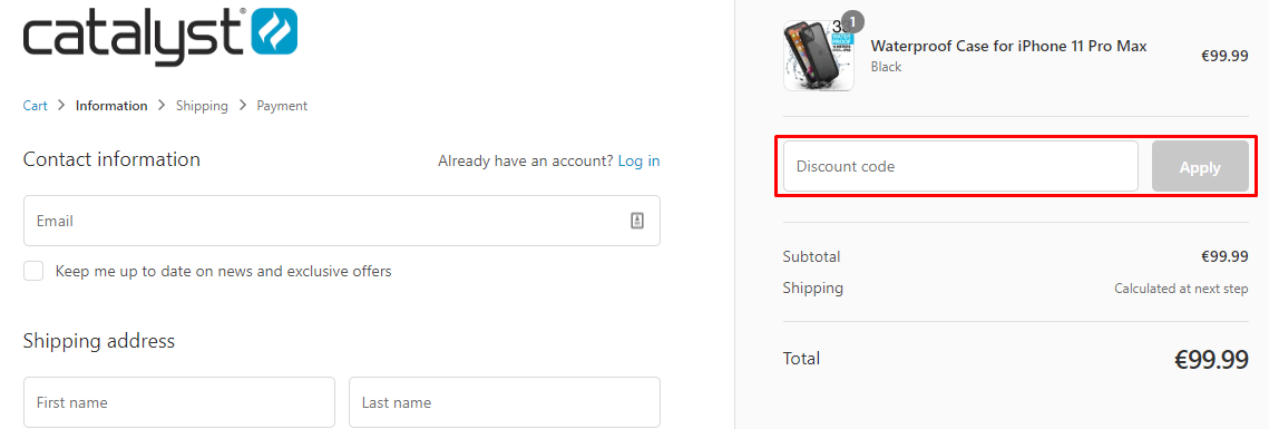 How do I use my Catalyst discount code?