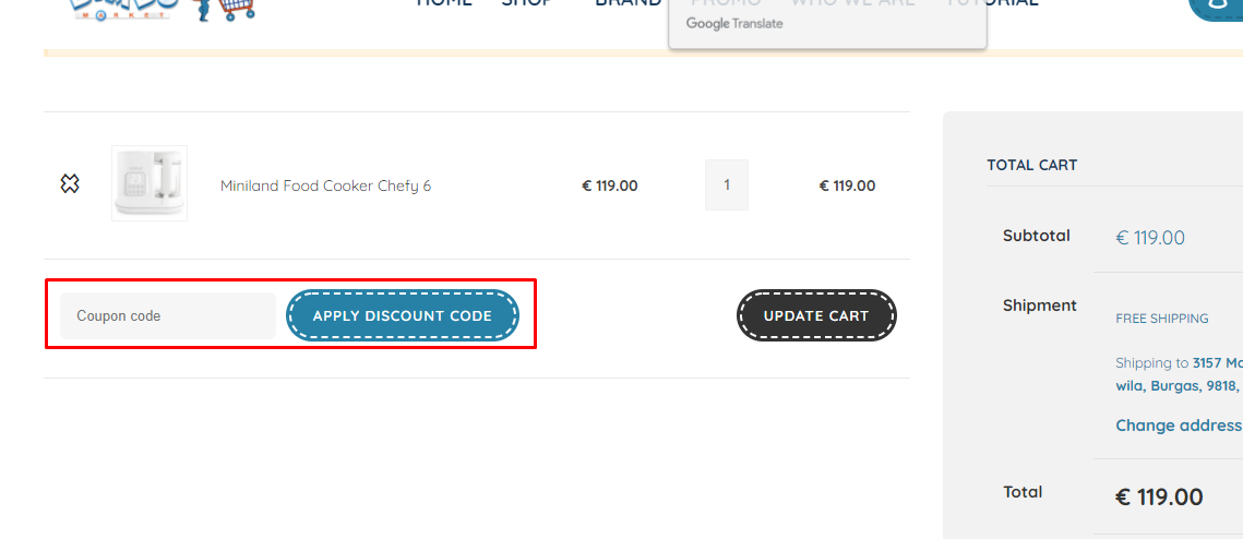 How do I use my Bimbomarket coupon code?
