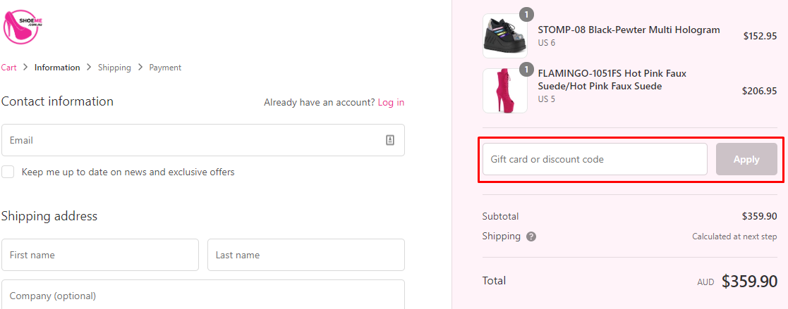 How do I use my Shoe Me discount code?