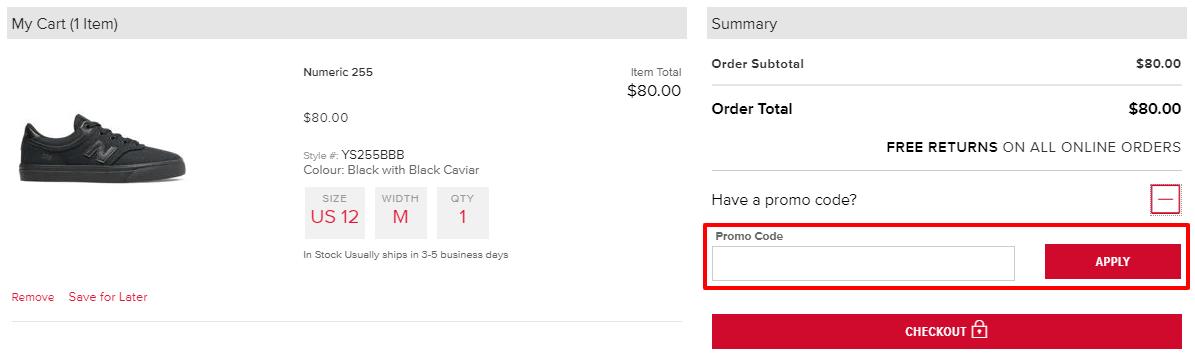How do I use my New Balance discount code?