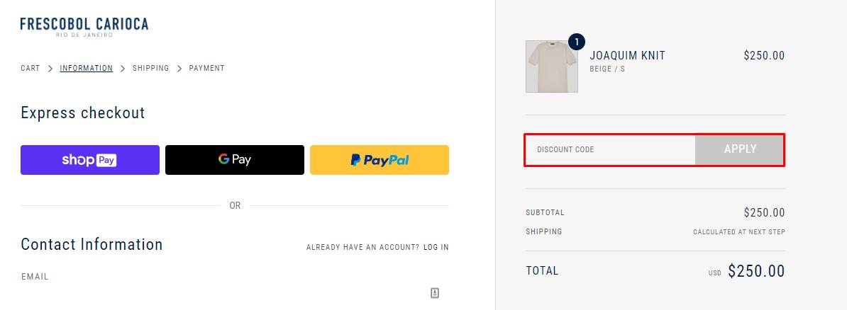 How do I use my Frescobol Carioca discount code?