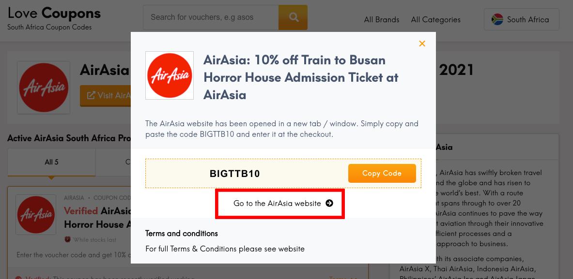 Air Asia ZA Get Coupon