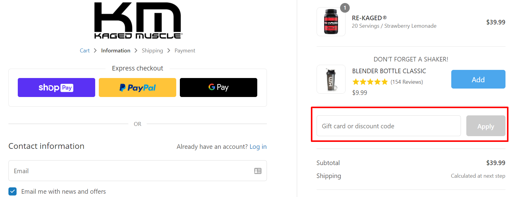 How do I use my Kaged Muscle discount code?