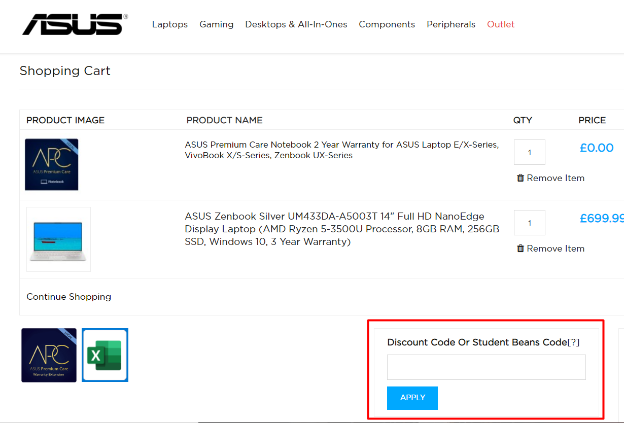How do I use my ASUS discount code?