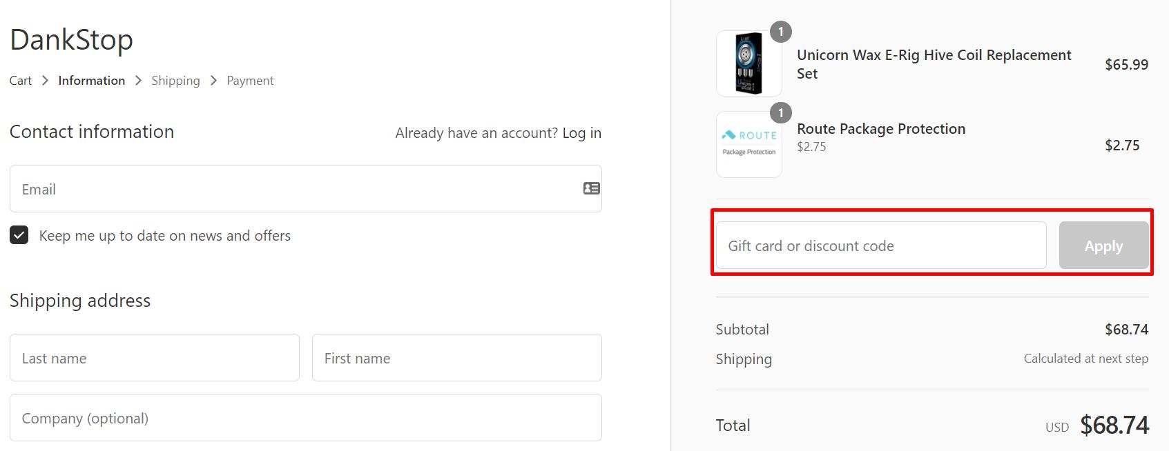 How do I use my DankStop discount code?