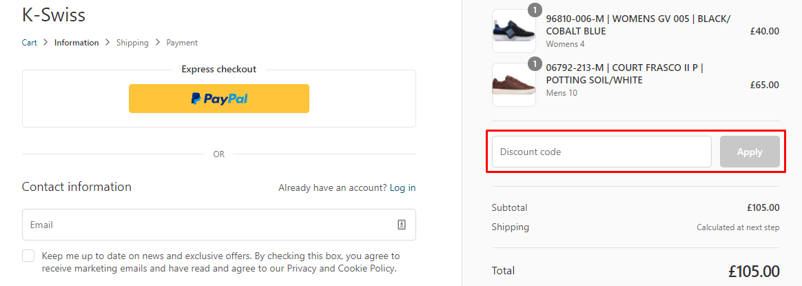 How do I use my K-Swiss Discount code?
