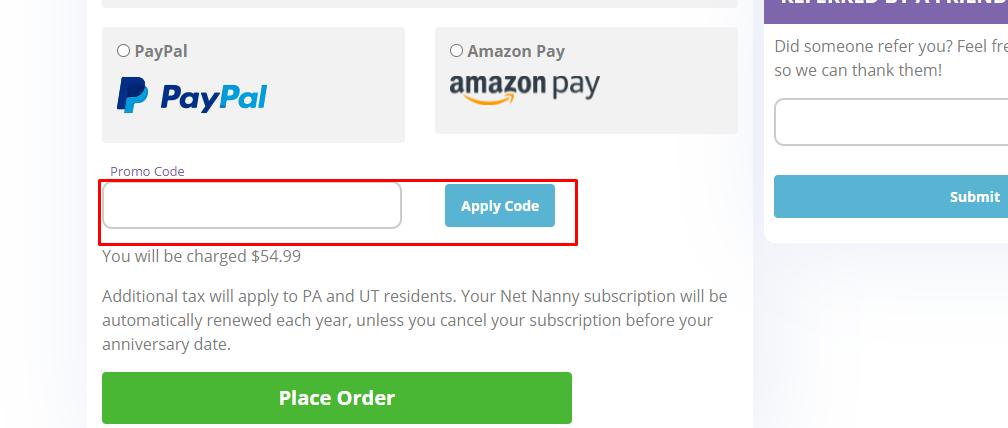 How do I use my Net Nanny promotional code?