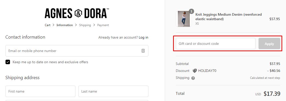 How do I use my Agnes & Dora discount code?
