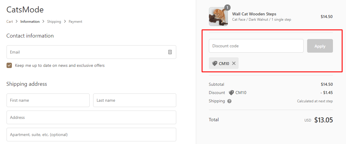 How do I use my Cats Mode discount code?