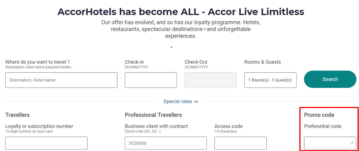 How do I use my Accor Hotels discount code?