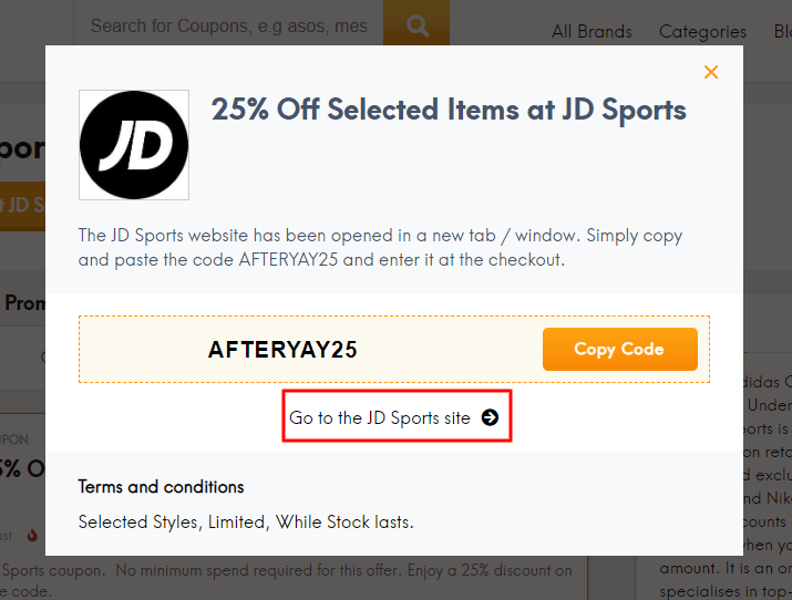 Go to JD Sports site