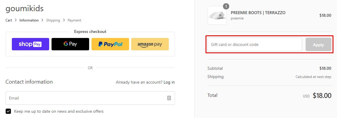 How do I use my Goumi Kids discount code?