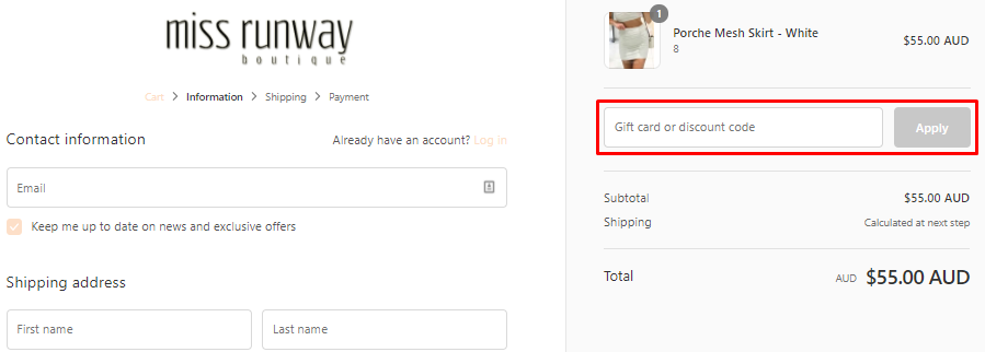 How do I use my Miss Runway Boutique discount code?
