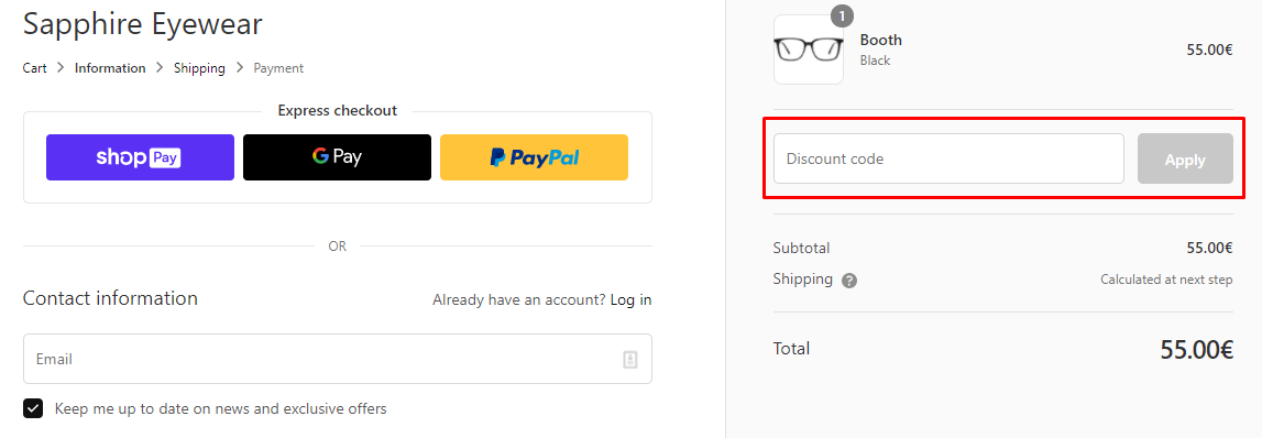 How do I use my Sapphire Eyewear discount code?