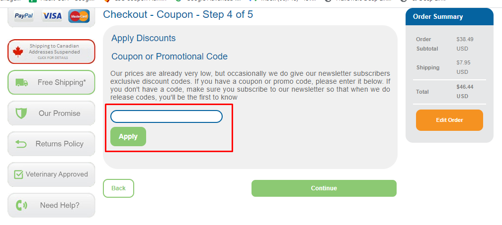 How do I use my CanadaVet discount code?
