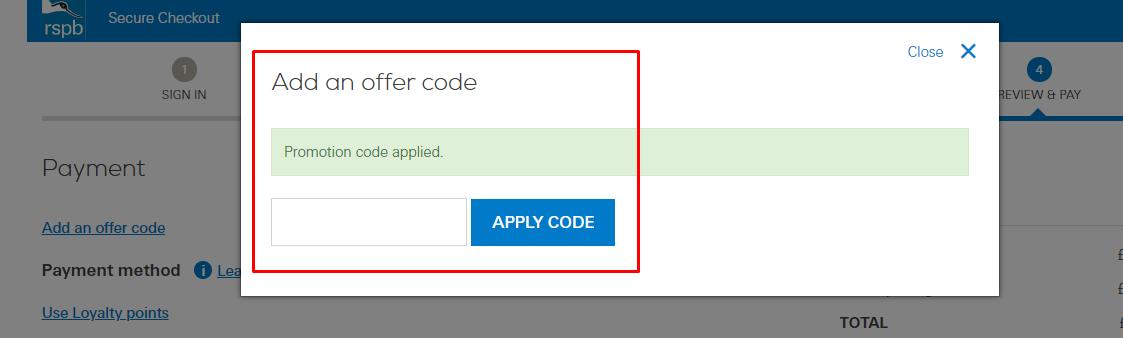 How do I use my RSPB Shop offer code?