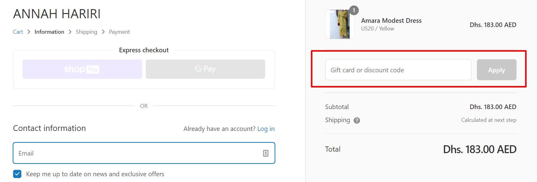 How do I use my Annah Hariri discount code?