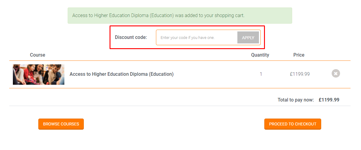 How do I use my Central College for Education discount code?