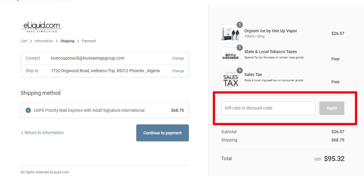 How do I use my eliquid.com discount code?