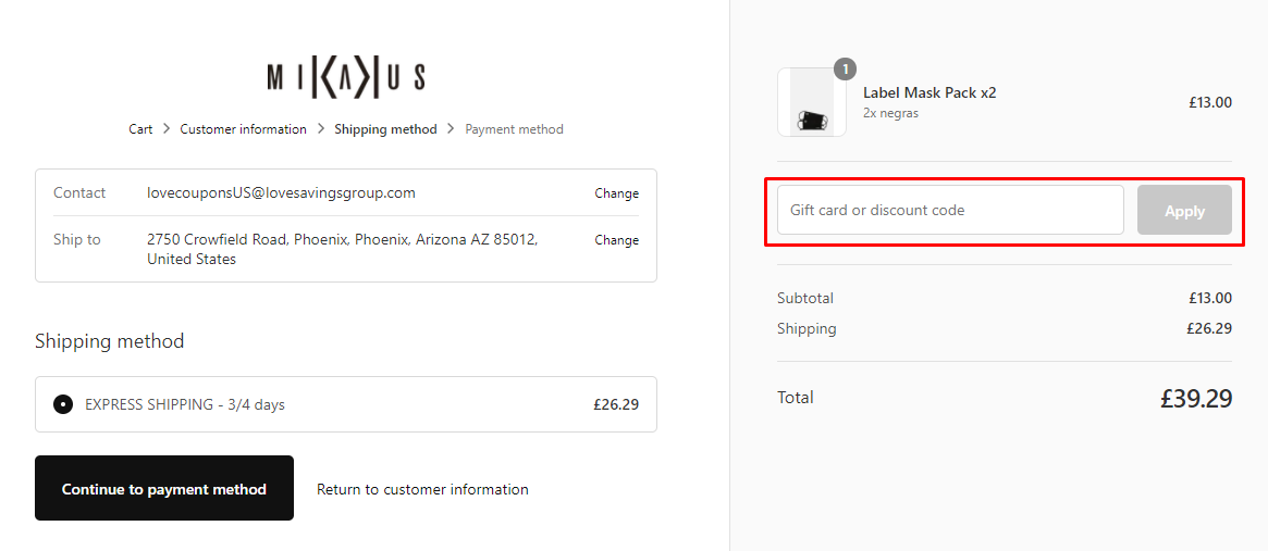 How do I use my MIKAKUS gift/discount code?