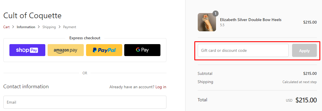 How do I use my Cult of Coquette discount code?