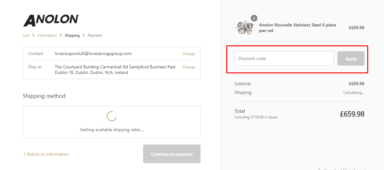 How do I use my Anolon discount code?