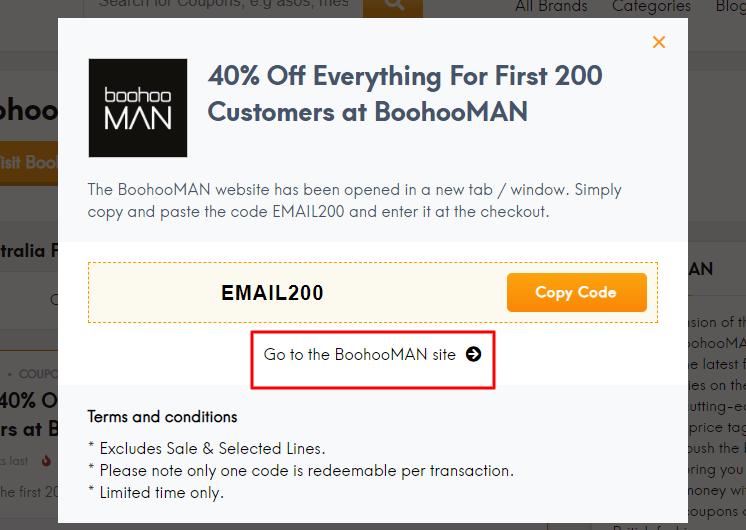 Go to boohooMAN site