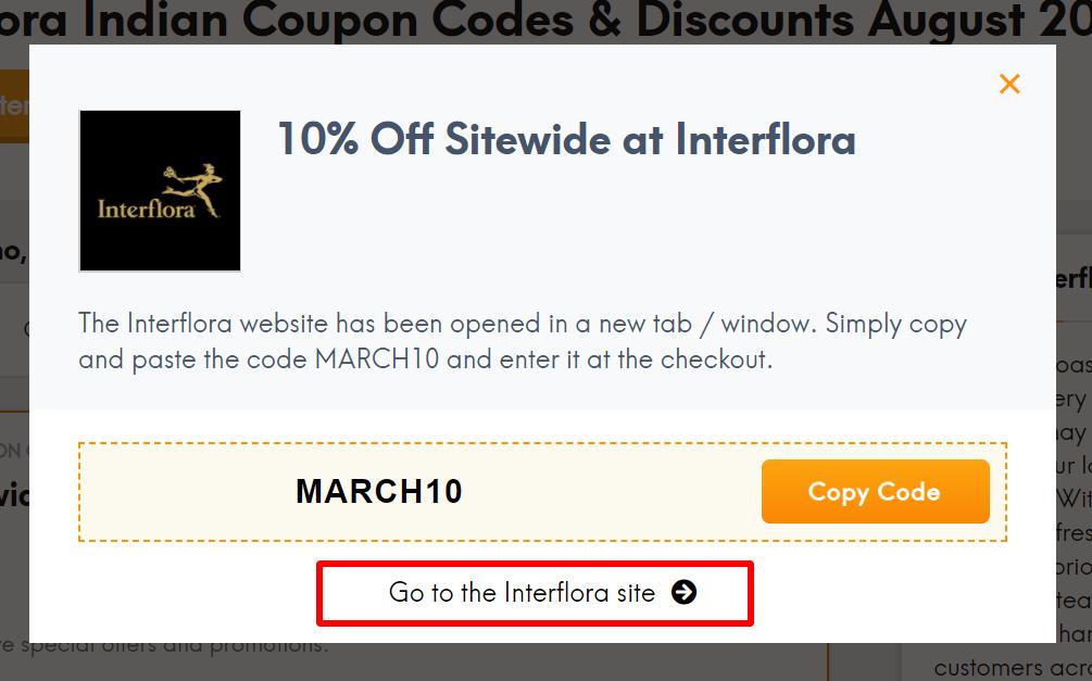 Interflora IN coupon