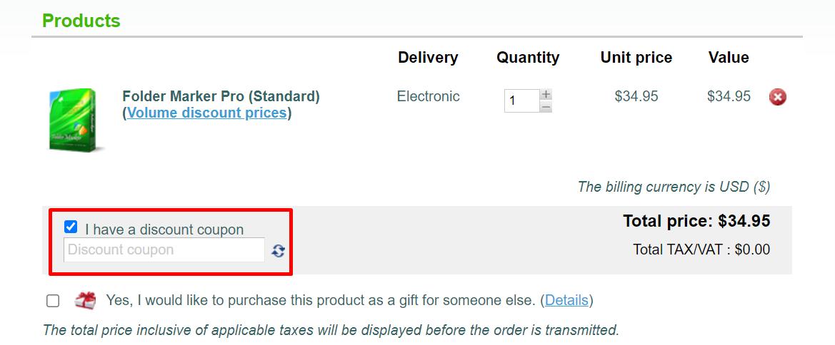How do I use my Folder Marker.com discount code?