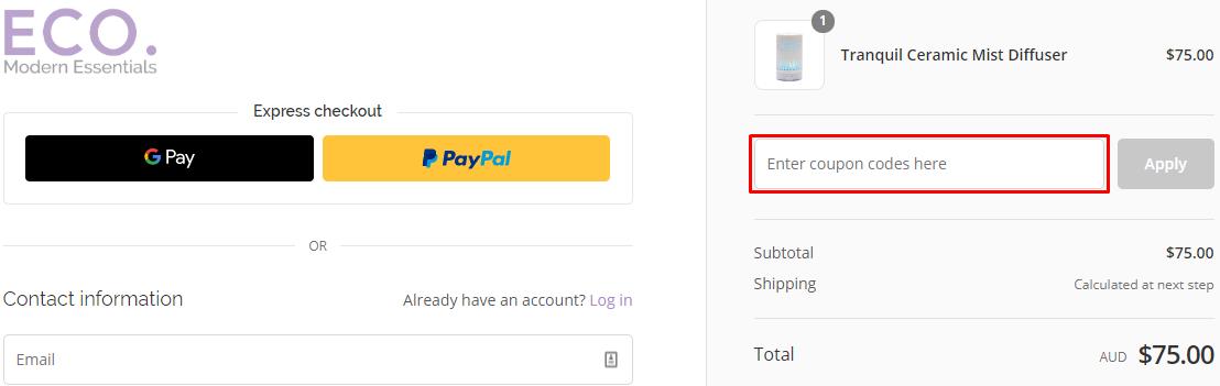 How do I use my Eco Modern Essentials discount code?