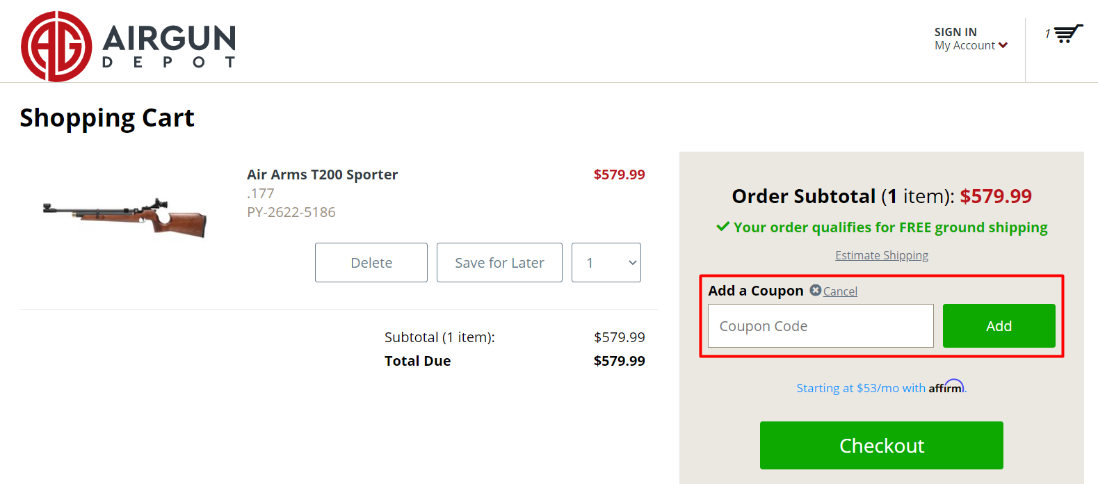 How do I use my Airgun Depot coupon code?