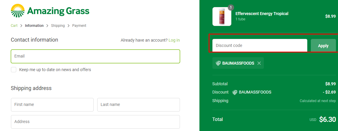 How do I use my Amazing Grass discount code?