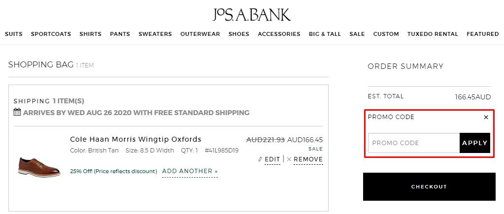 How do I use my Jos. A. Bank promo code?