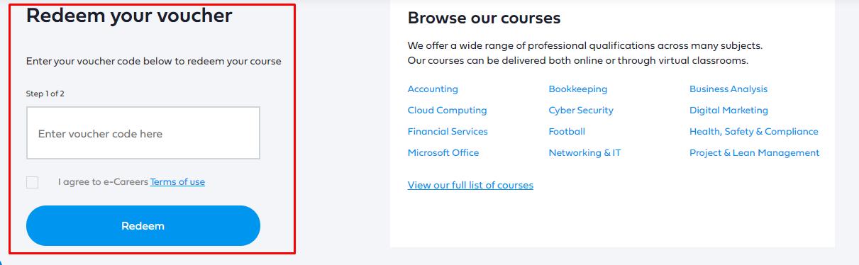 How do I use my e-Careers voucher code?