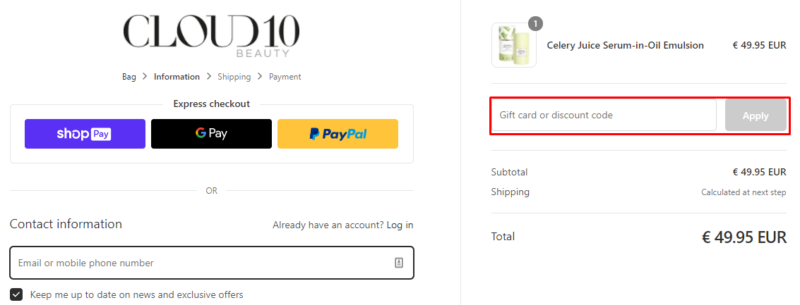 How do I use my Cloud 10 Beauty discount code?