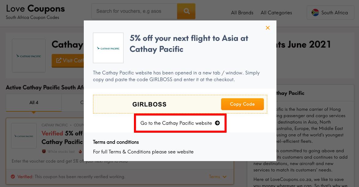 Cathay Pacific ZA Get Coupon