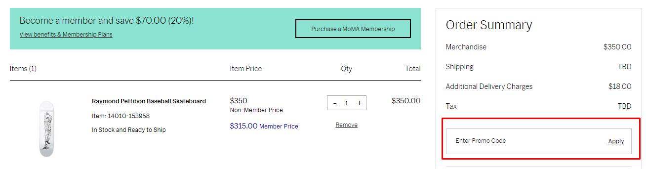 How do I use my MoMA Design Store promo code?
