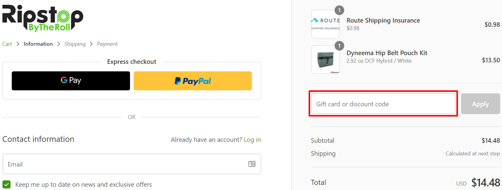 How do I use my Ripstop by the Roll coupon code?