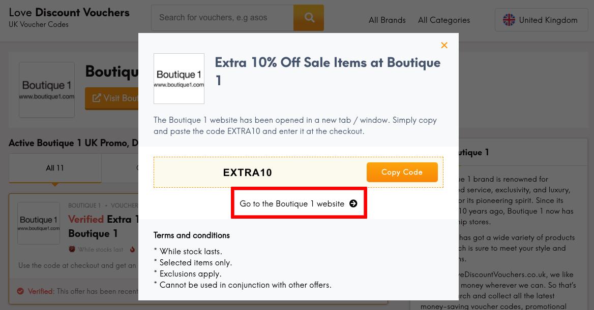 Boutique 1 UK Get Code