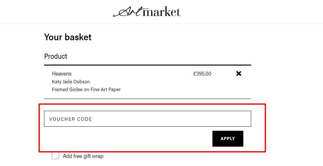 How do I use my Artmarket discount code?