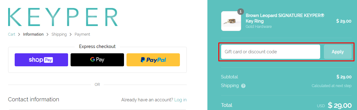 How do I use my Keyper discount code?