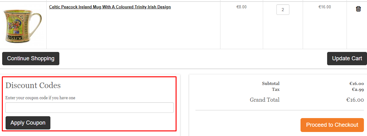 How do I use my Carrolls Irish Gifts discount code?
