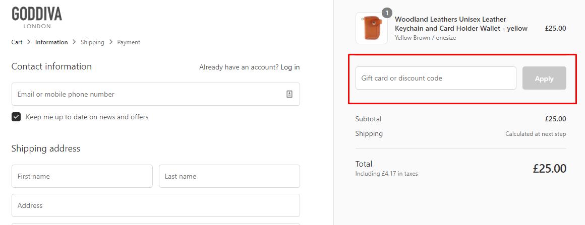 How do I use my Goddiva discount code?