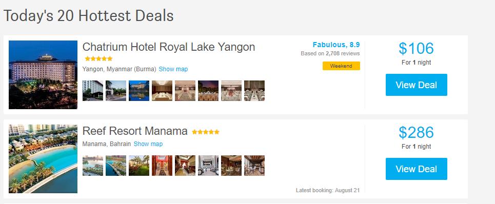 HotelsCombined Hottest Deals